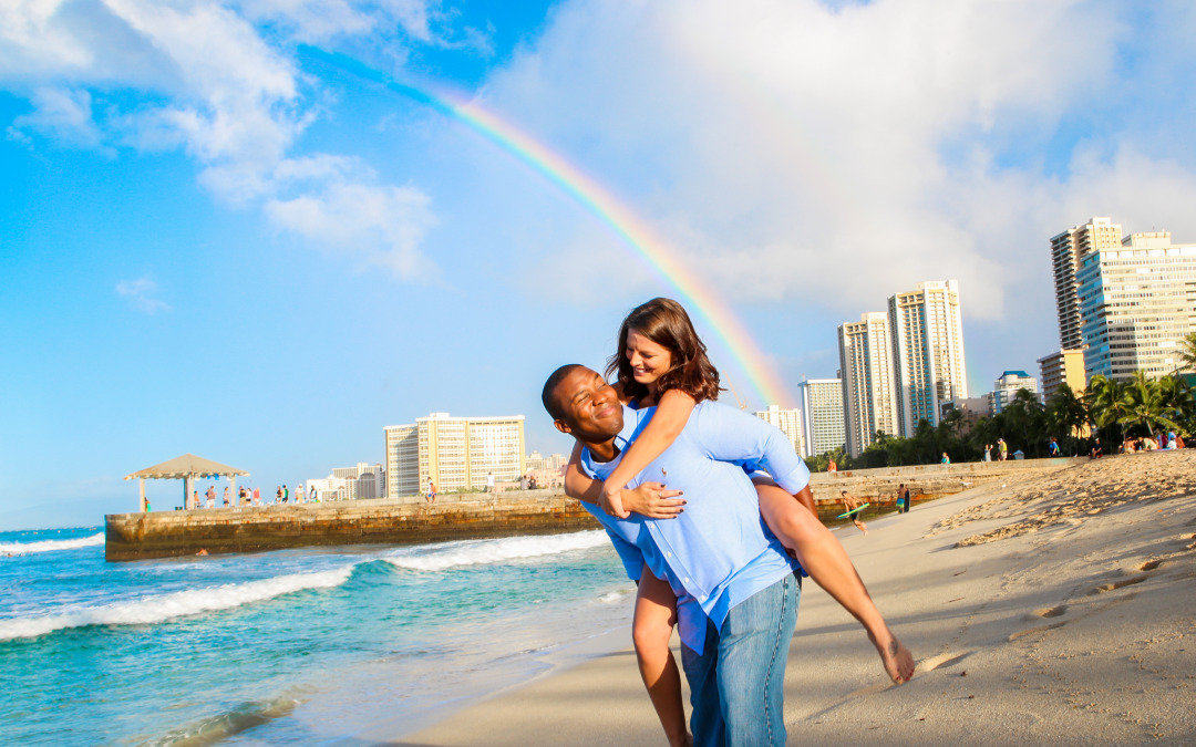 Rainbow Family Photo Session in Waikiki Beach, Oahu